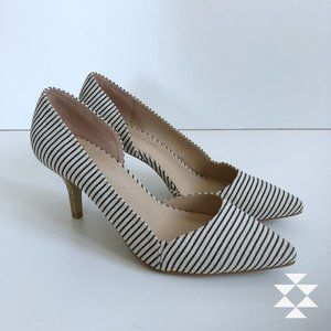 Black and White Textile D'Orsay Heels Pumps 8